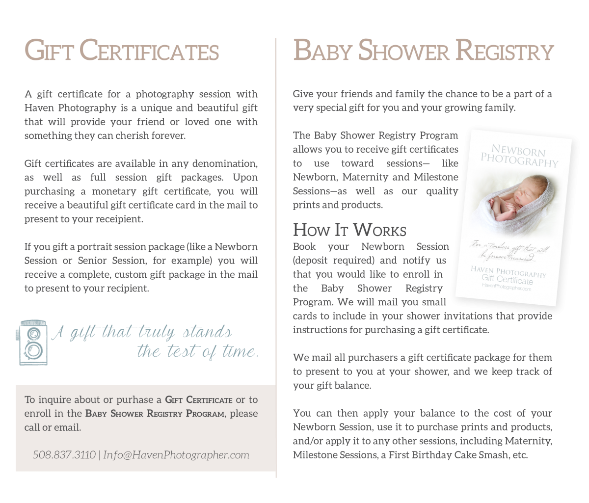 Gift certificates baby shower registry haven photography xflitez Images
